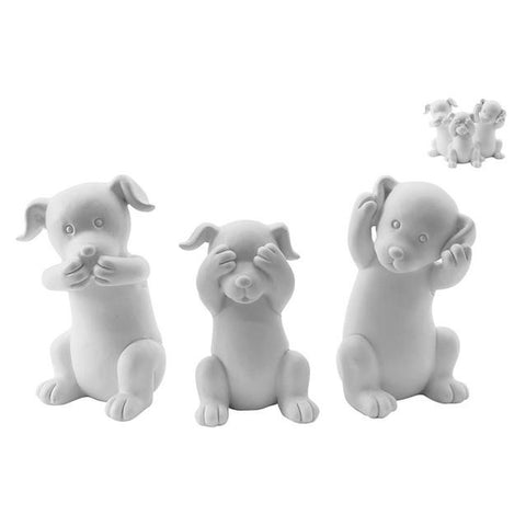 Set of 3 Puppies - White - The Chic Nest
