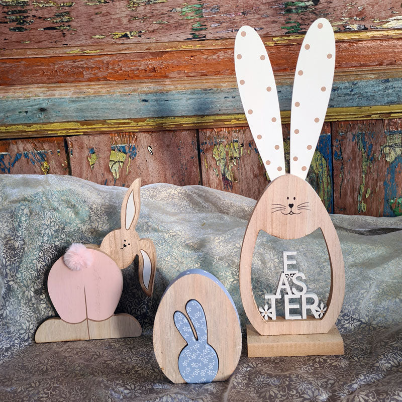 Wooden Easter Bunny - White/Natural