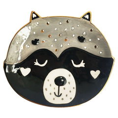 Racoon Face Ceramic Trinket Dish