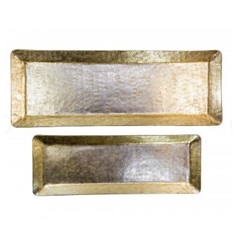Rectangle Gold Hammered Tray 40cm - Handcrafted