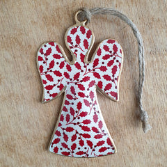 Red Metal Angel Ornament