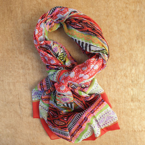 Red Anokhi Print Cotton Scarf
