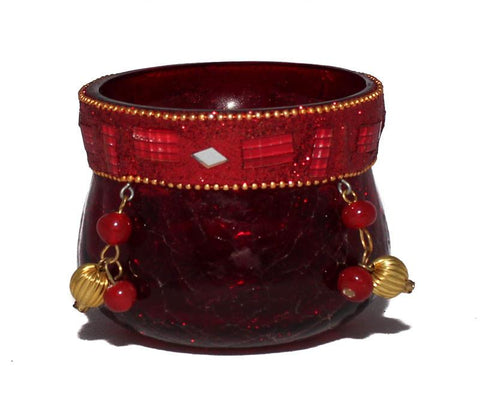 Red Beaded Votive Candle Holder