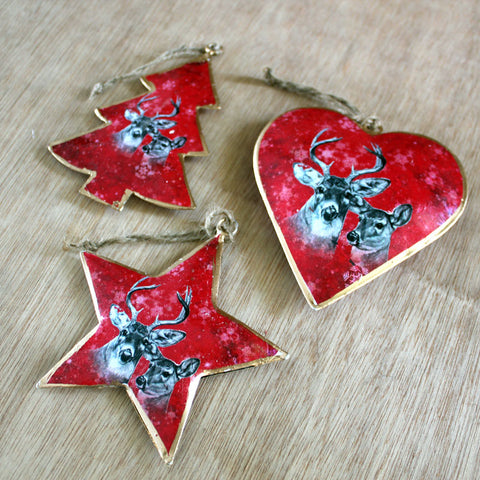 Red Deer Star Christmas Ornament