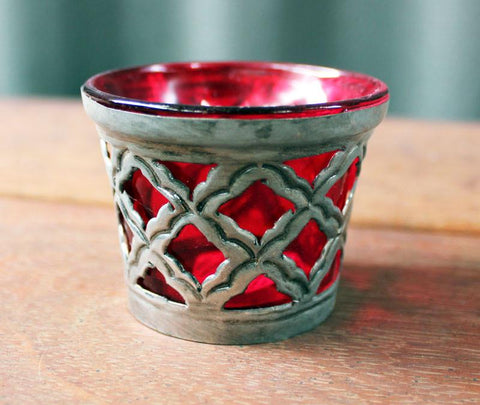 Red Metal & Glass Votive