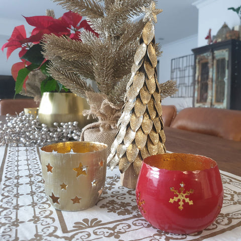 Red & Gold Snowflake Votive