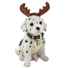 Sitting Dalmation Reindeer Christmas Figurine - The Chic Nest