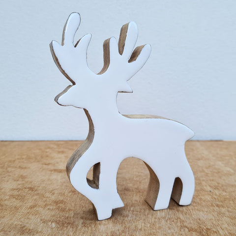 Wooden Reindeer - White Gloss
