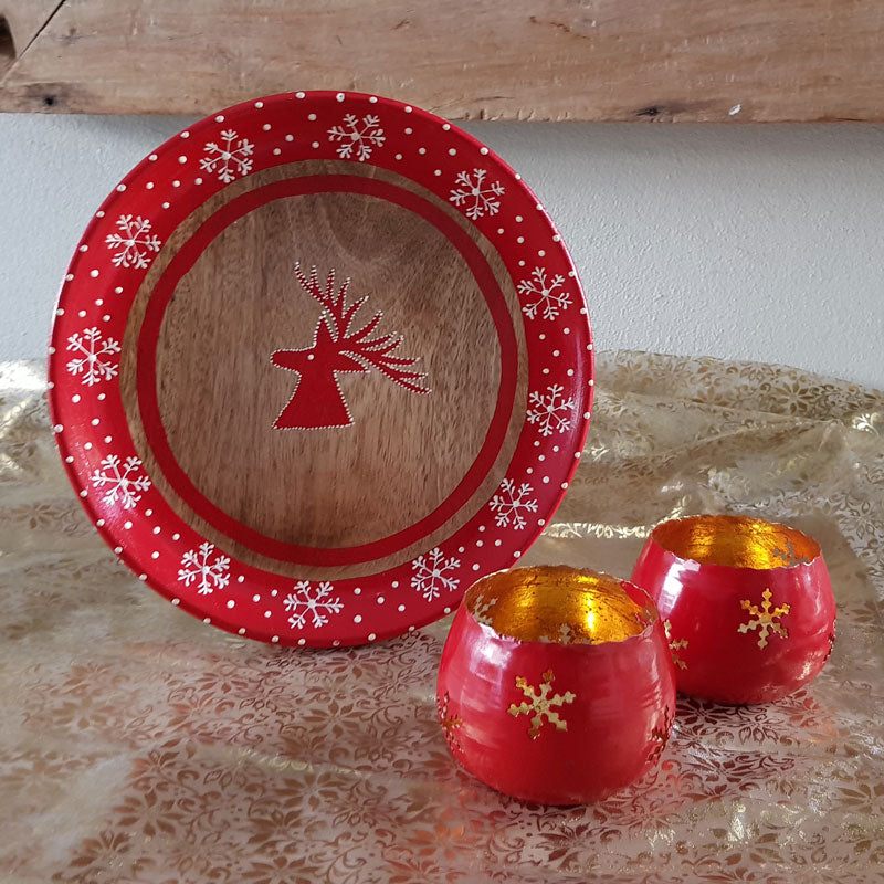Red & Gold Snowflake Votive - The Chic Nest