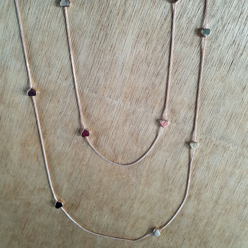 Rose Gold 2 Layer Heart Necklace