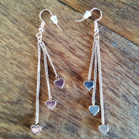 Rose Gold Heart Earrings - The Chic Nest