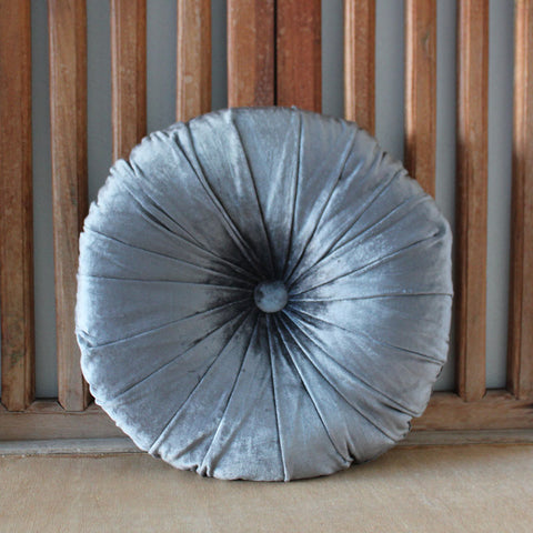 Round Velvet Cushion - Charcoal - The Chic Nest