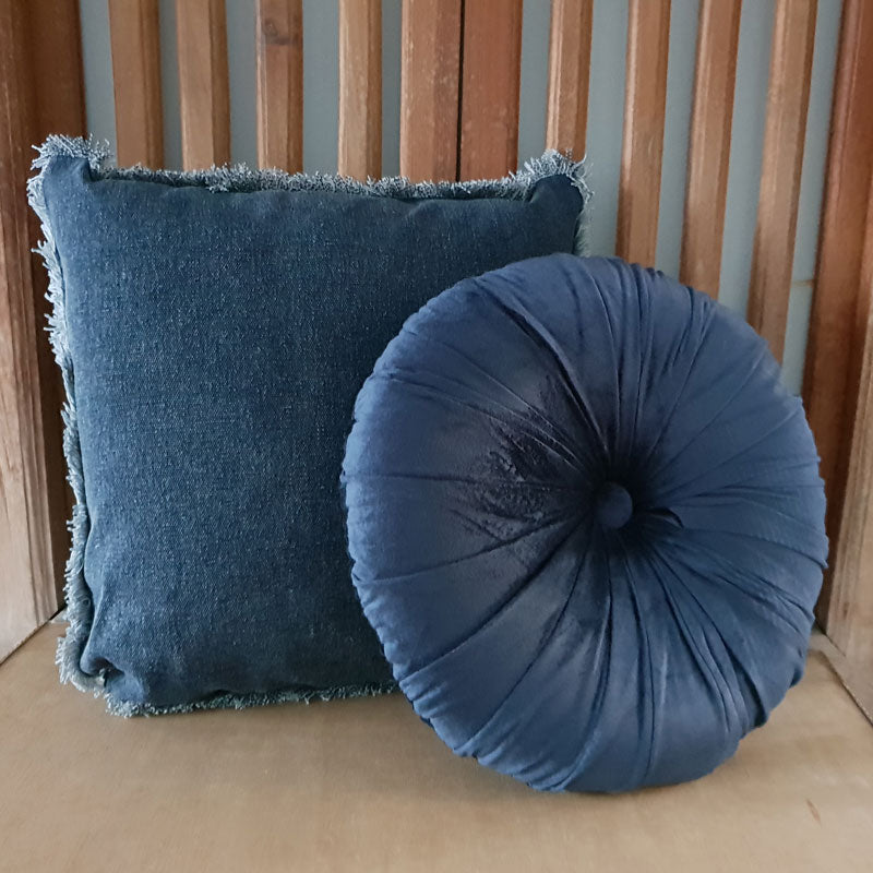 Round Velvet Cushion - Indigo - The Chic Nest