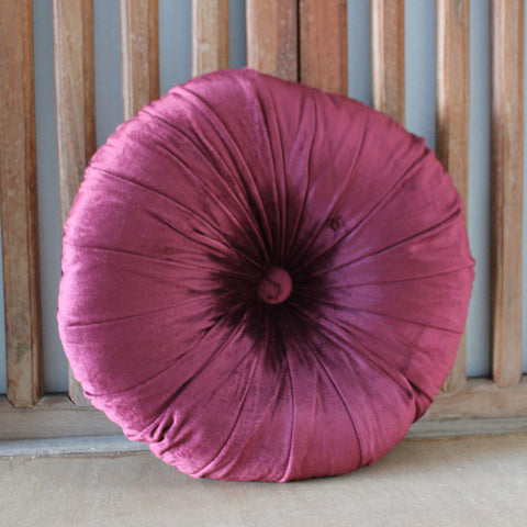 Round Velvet Cushion - Jewel Burgundy - The Chic Nest