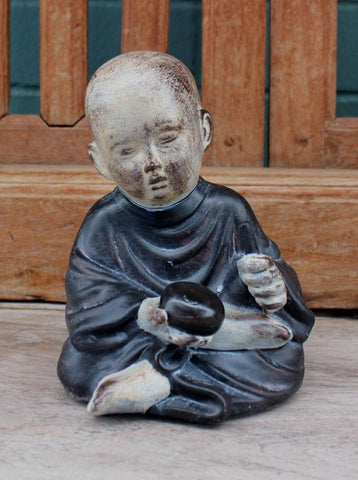 Rustic Sitting Monk Figurine