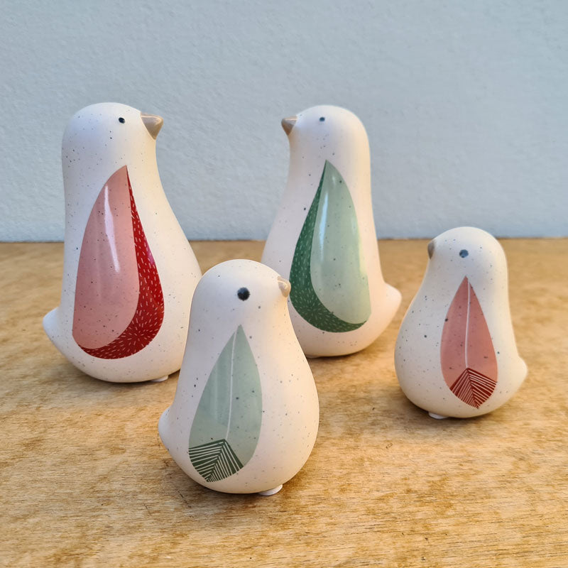 Sage Ceramic Bird Figurine - Large