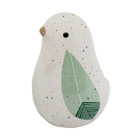 Sage Ceramic Bird Figurine - Small