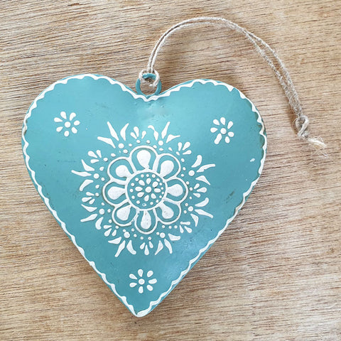 Sage Henna Heart Ornament - The Chic Nest