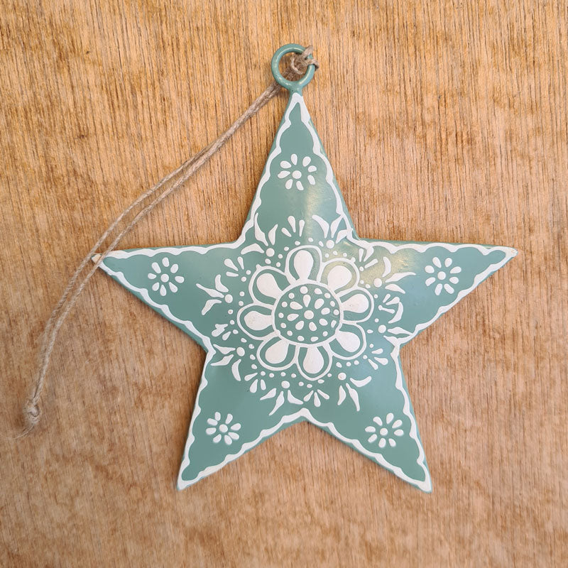 Sage Henna Star Ornament