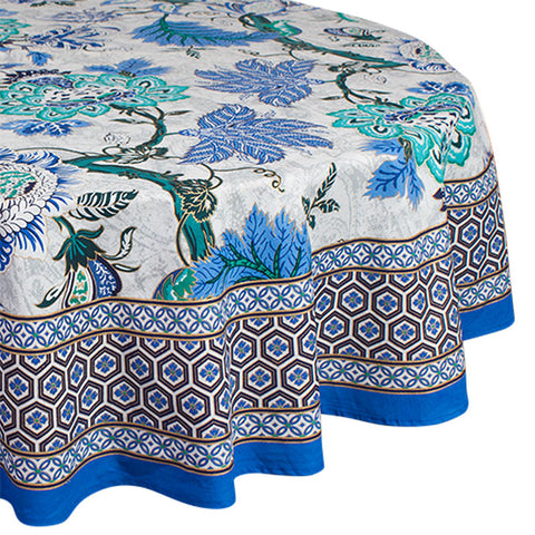 Sapphire Round Tablecloth - Handcrafted