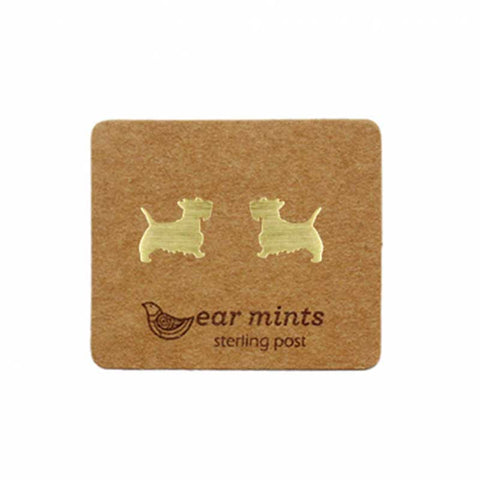 Brushed Metal Scotty Dog Ear Mints Earrings - Gold
