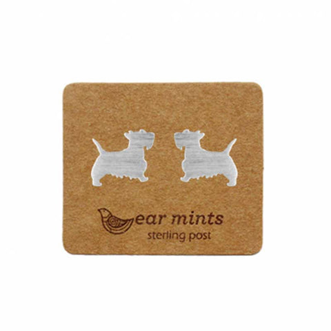 Brushed Metal Scotty Dog Ear Mints Earrings - Silver