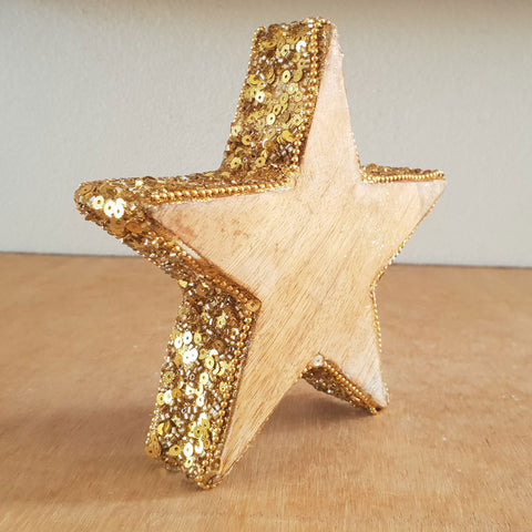Sequinned Gold Rim Star - The Chic Nest
