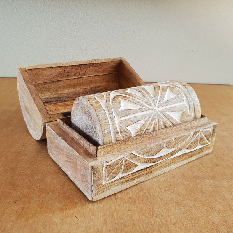 Handmade Wooden Carved Chests Set of 2 - The Chic Nest