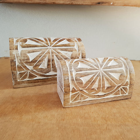 Handmade Wooden Carved Chests Set of 2