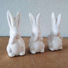 Set of 3 Cheeky Bunnies - White