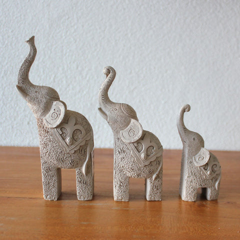 Set of 3 Elephants - Taupe