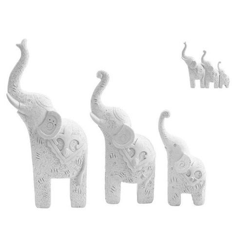 Set of 3 Elephants - White