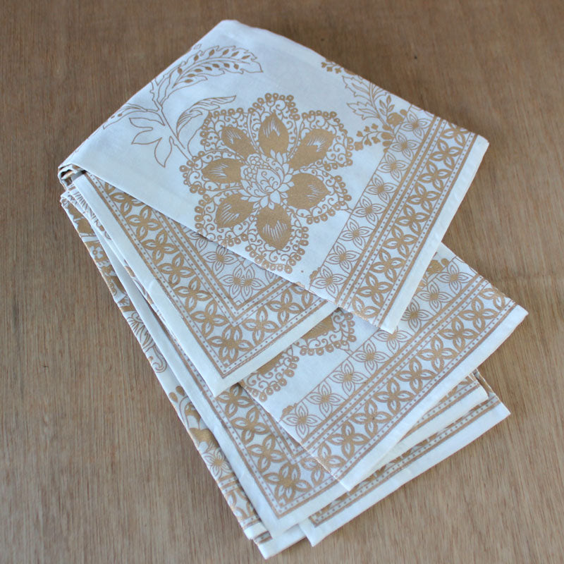 Gold Floral Printed Tea Towel Set of 3 - The Chic Nest