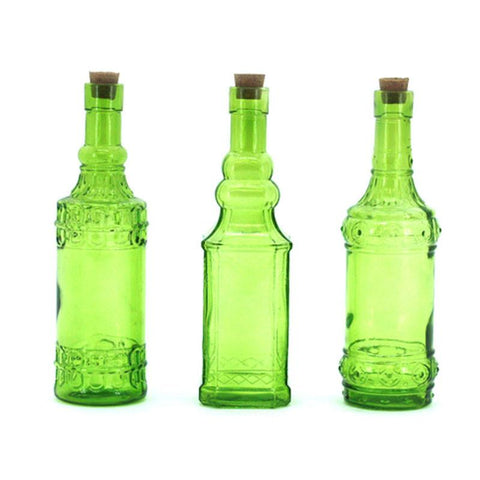 Set of 3 Lime Glass Bottles