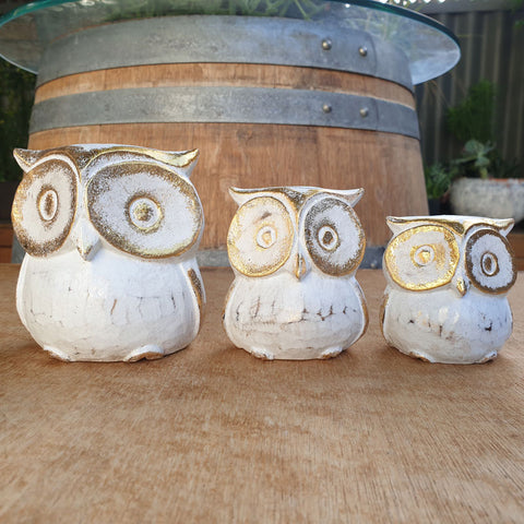 Family of Owls - White and Gold