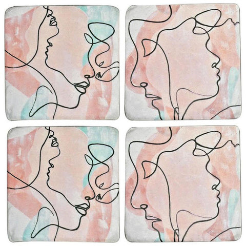 Abstract Face Design Set of 4 Coasters