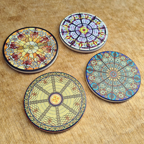 Set of 4 Coasters - Stained Glass