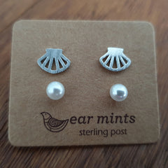 Shell & Pearl Set of 2 Ear Mints Earrings - Silver
