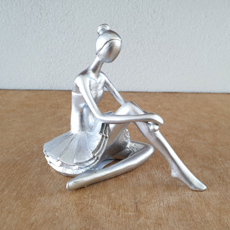 Ballerina Sitting Figurine - Silver - The Chic Nest