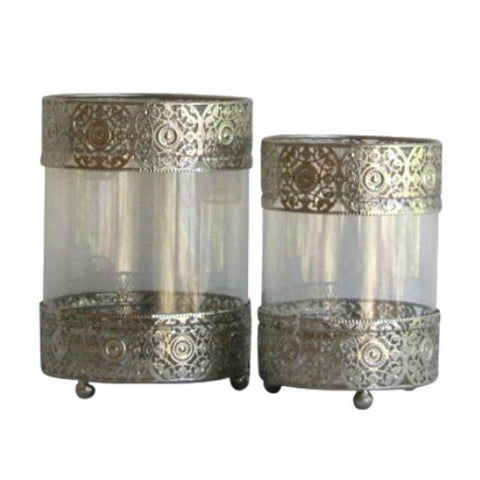 Silver Cutout Metal Candle Holder