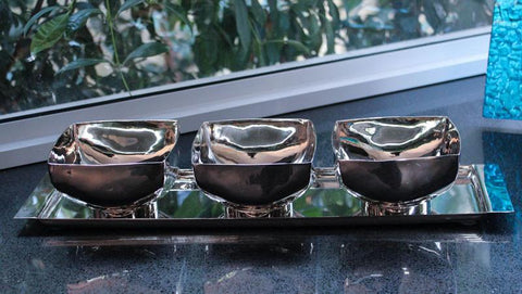 Silver Tray & 3 Bowl Set - The Chic Nest