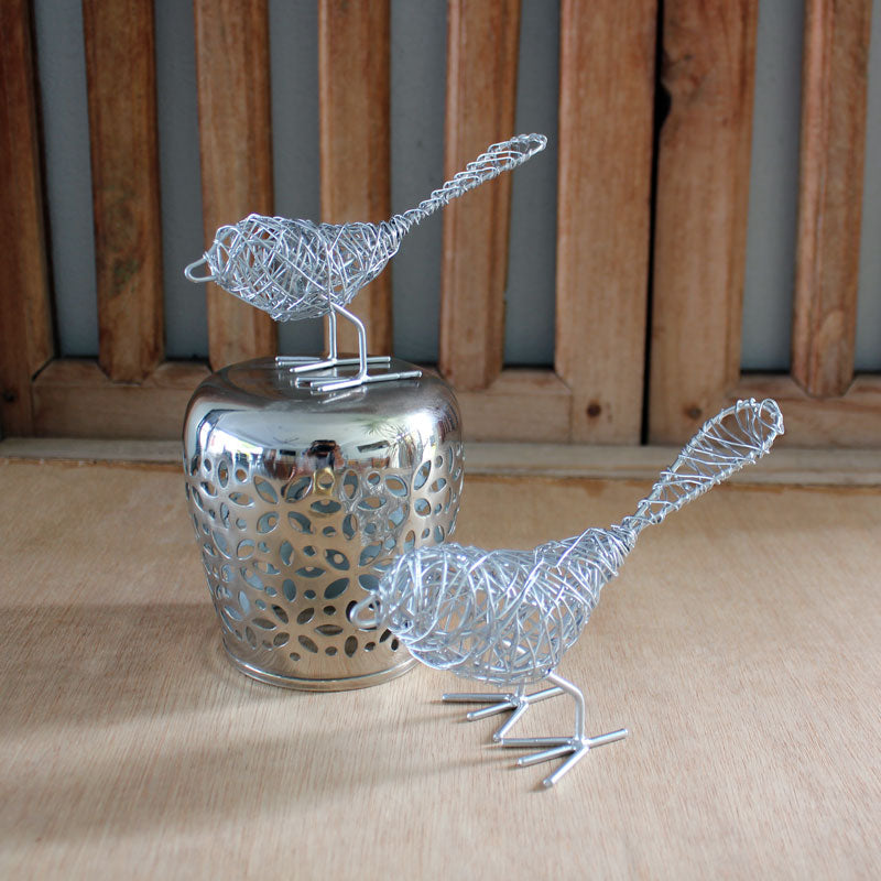 Silver Wire Birds Set of 2