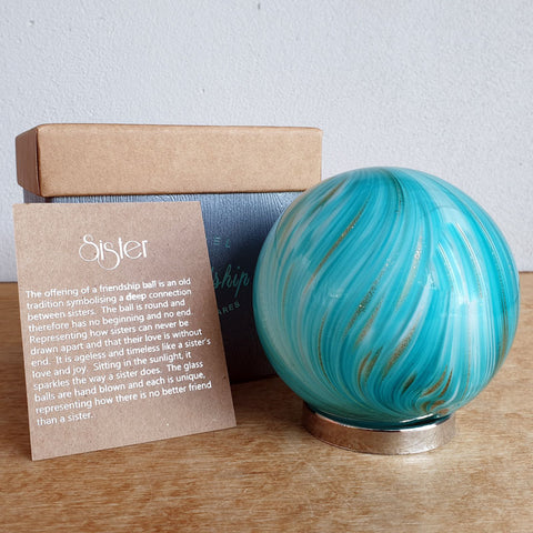 Sister Friendship Ball Bright Aqua Gold Shimmer - The Chic Nest