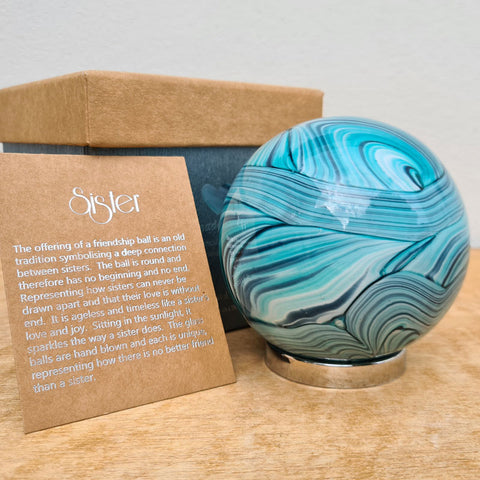 Sister Friendship Ball Marine Blue Swirls