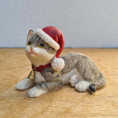 Sitting Grey Cat Christmas Figurine