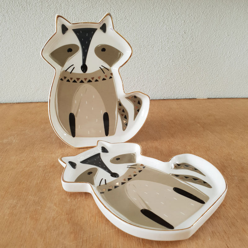 Sitting Racoon Ceramic Trinket Dish - The Chic Nest