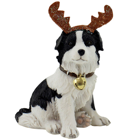 Sitting Border Collie Reindeer Christmas Figurine