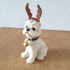 Sitting Maltese Terrier Reindeer Christmas Figurine - The Chic Nest