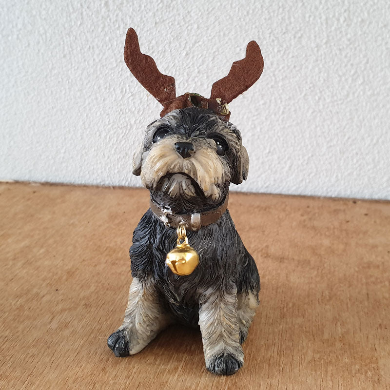 Sitting Terrier Reindeer Christmas Figurine