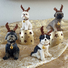 Sitting Terrier Reindeer Christmas Figurine - The Chic Nest
